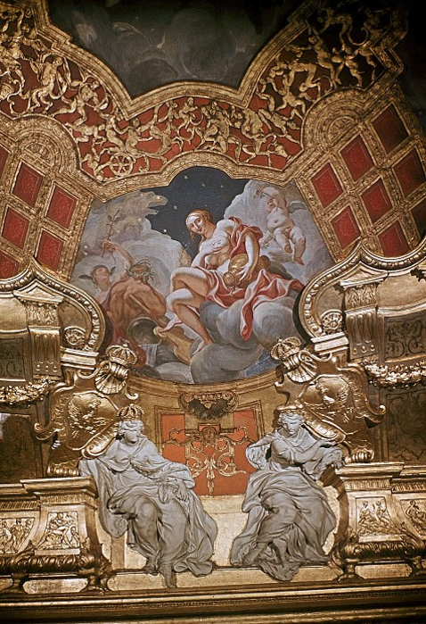 Creation of the Milky Way, Berlin Palace, Rote Samtkammer, Paul Carl Leygebe, after 1701